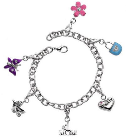 Silver-Tone Mother's Day Charm Bracelet Just $9.99! Down From $19.99!