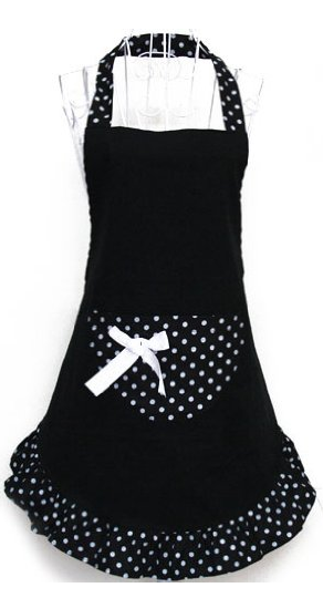 black and white pola dot apron