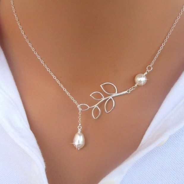Silver Leaf and Pearl Pendant Necklace Just $2 + FREE Shipping!