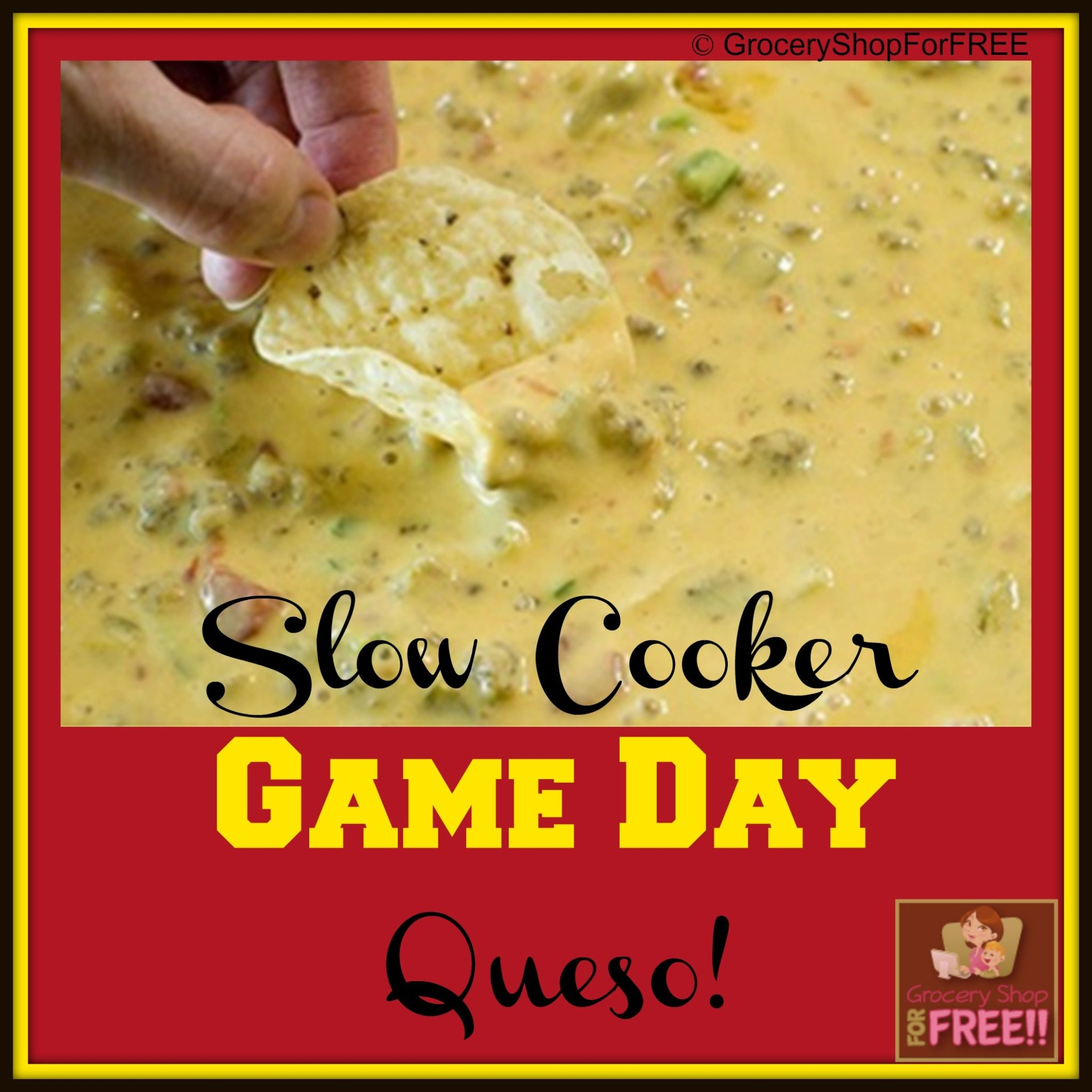 Slow Cooker Game Day Queso!  Our favorite Game Day Treat!