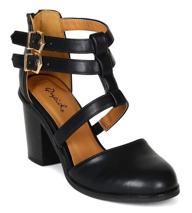 Strappy Chunky Heel Buckle Bootie - Black Just $25.90! (Reg. $49)