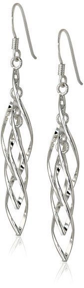 Price Drop! - Silver Linear Swirl French Wire Earrings - Now Only $14.99!