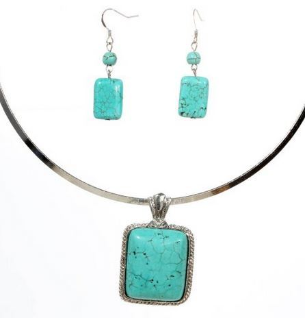 Turquoise Rectangle Pendant Necklace and Earrings Set Just $4.89!
