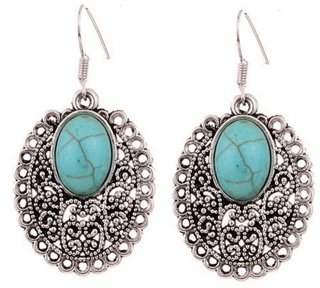 Turquoise and Silver Dangle Earrings Only $3.62 SHIPPED!