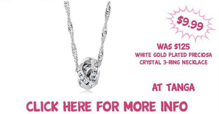 White Gold Plated Preciosa Crystal 3-Ring Necklace Just $9.99! Down From $125!