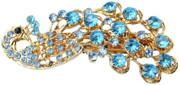 Vintage Crystal Peacock Hair Clip ONLY $1.99 + FREE Shipping!