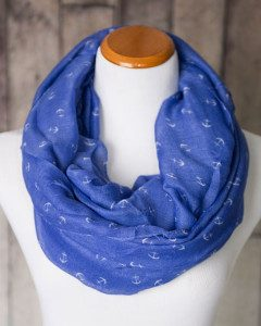 Nautical Anchor Print Infinity Scarf Only $13.95!