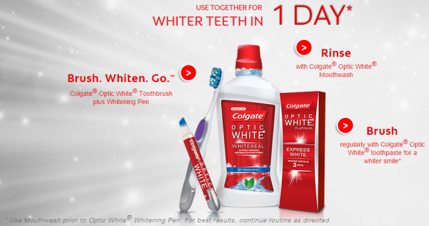 Colgate® Optic White® For Whiter Teeth In Just One Day!