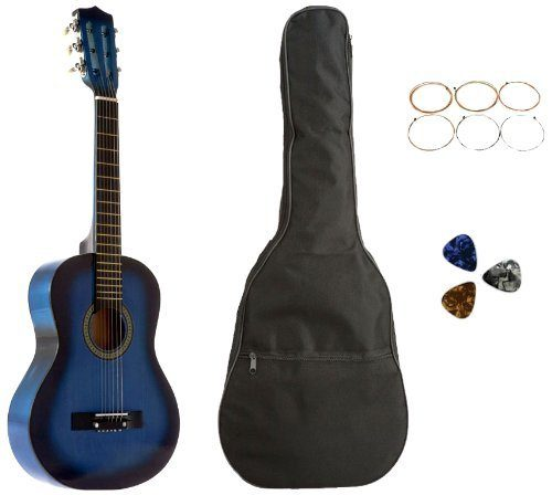 Acoustic Guitar 31 Inches Blue with Bag, Strings & Picks Only $16.19!  Down From $100!