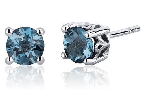 London Blue Topaz Round Cut Stud Earrings in Sterling Silver For Only $24.99!
