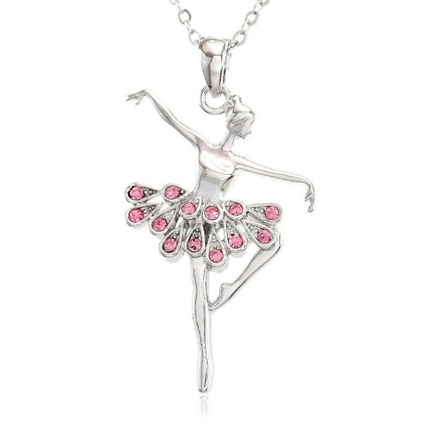 Light Pink Dancing Ballerina Pendant Necklace Just $7.99!  Ships FREE!