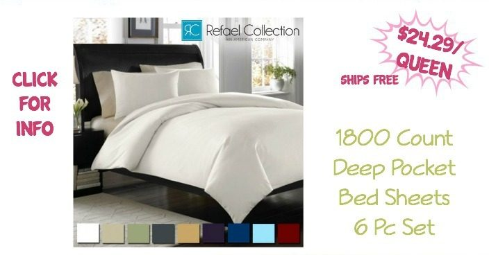 1800 Count Deep Pocket Bed Sheets 6 Pc Set Just $24.29 (Queen)! Ships FREE!