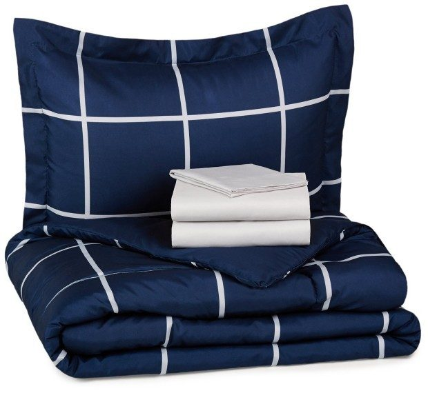 AmazonBasics 5-Piece Bed-In-A-Bag - Twin/Twin XL, Navy Plaid Only $38.99!