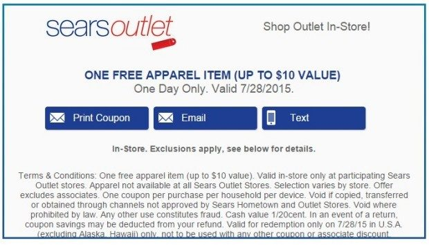 FREE Apparel At Sears Outlet!