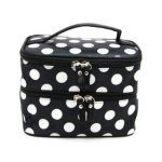 Double Layer Black and White Polka Dot Cosmetic Bag with Mirror Just $4.22 + FREE Shipping!