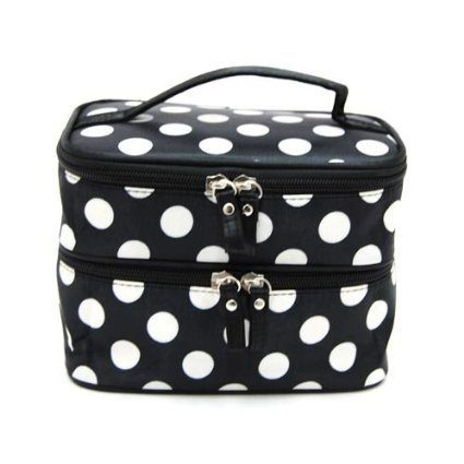 Double Layer Black & White Polka Dot Cosmetic Bag With Mirror Just $3.77 + FREE Shipping!