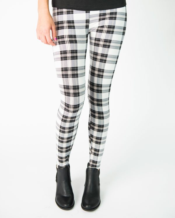 Ivory And Black Plaid Print Leggings Only $19.99 Ships FREE!