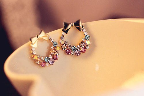 bow and wreath rhinestone earrings