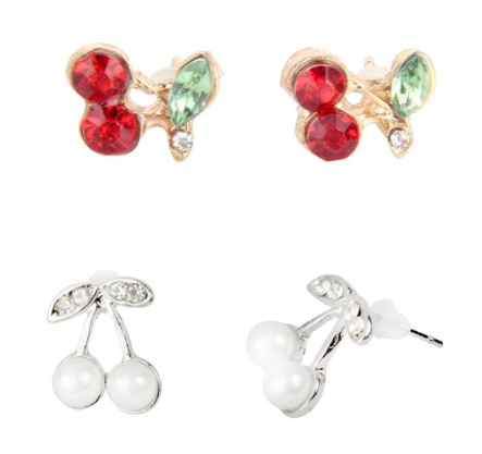 Cute Cherry Rhinestone Earrings Only $2.59 + FREE Shipping!