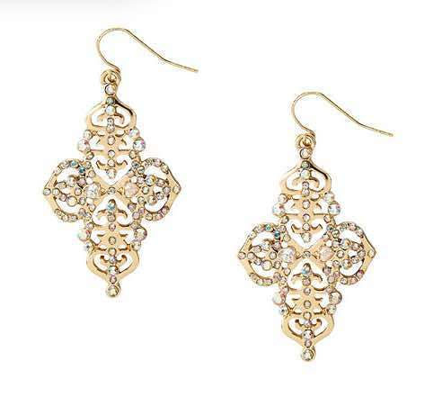 Katy Perry Aurora Borealis Crystal Gold Filigree Drop Earrings Only $4!