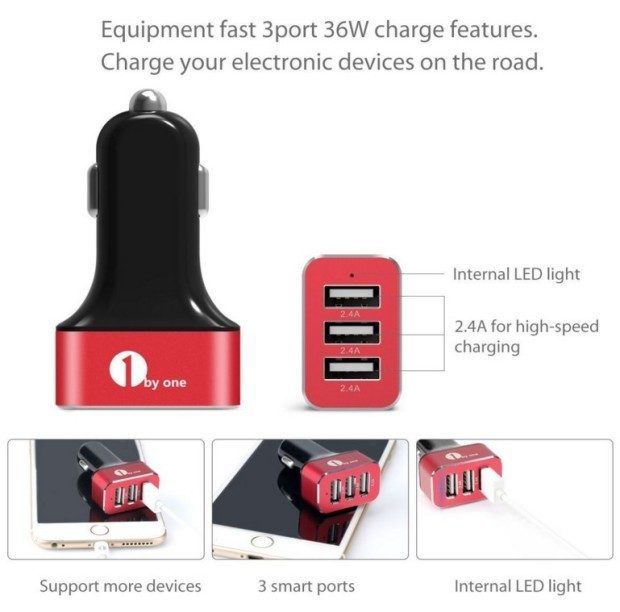 1ByOne 3-Port USB Car Charger Giveaway!  10 Winners!!
