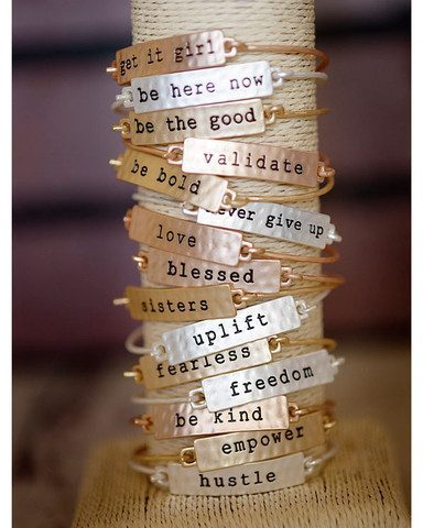 Tribe Stamped Phrase Bangle Bracelets Only $24.95!