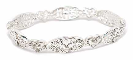 Heart and Fleur De Lis Bracelet In Silver Only $9.95!