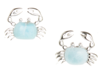 Larimar & Sterling Silver Crab Stud Earrings Only $19.99!