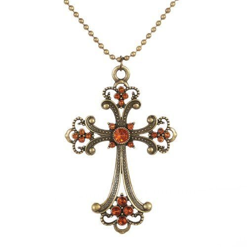 Orange Crystal and Bronze Cross Necklace Just $0.99 SHIPPED!