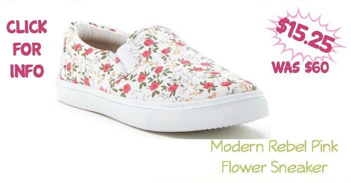 Modern Rebel Pink Flower Sneaker Just $15.25 (Reg $60)!