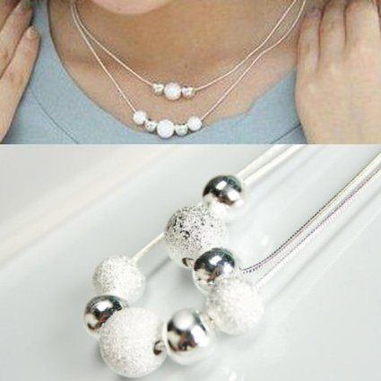 Silver Ball Double Layer Necklace Just $2.99 + FREE Shipping!
