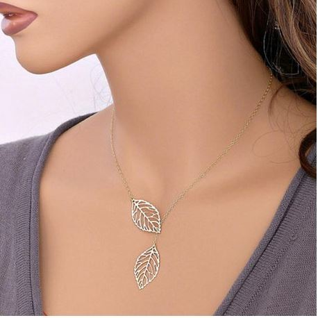 Double Leaf Necklace Just $3.35 + FREE Shipping!