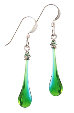 Blue & Green Glass Droplet & Sterling Earrings Only $25 + FREE Shipping!