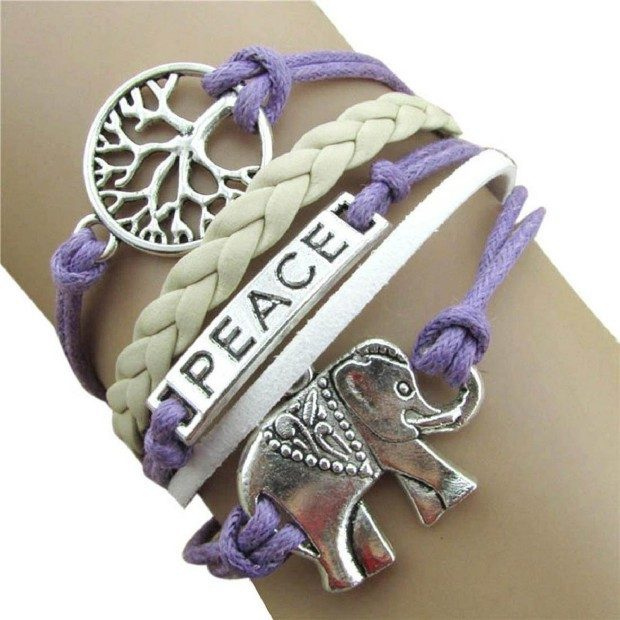 Leather Rope Chain Bracelet With Elephant Charm Only $3.28 Ships FREE!