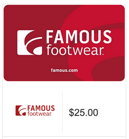 $25 Famous Footwear Gift Card Only $20!