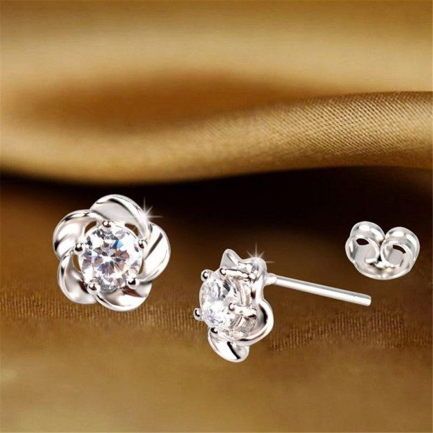 Platinum Plated Flower Earrings Only $2.02 Ships FREE!