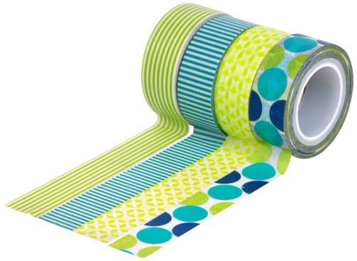 Washi Tape, Dots & Stripe, Green Blue, 4 Rolls $6.47! (Was $9)