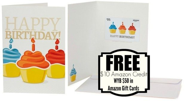 FREE $10 Amazon Credit WYB $50 In Amazon Gift Cards!