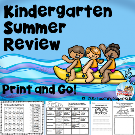 FREE Kindergarten Summer Review!