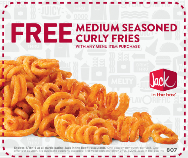 FREE Medium Seasoned Curly Fries At Jack In The Box! Through 4/18!