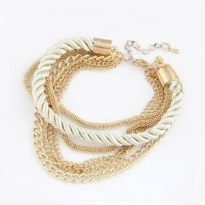 gold and white rope bracelet