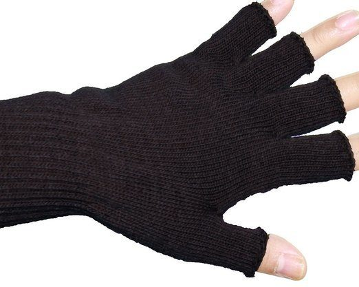 half finger stretchy knit gloves