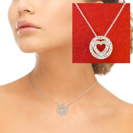 Circle of Hearts Silvertone Necklace with Crystals Just $6.00 Down From $24.99 At GearXS! Ships FREE!