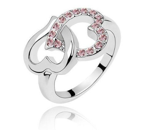 Heart to Heart Diamond Crystal Ring Only $2.99 SHIPPED!