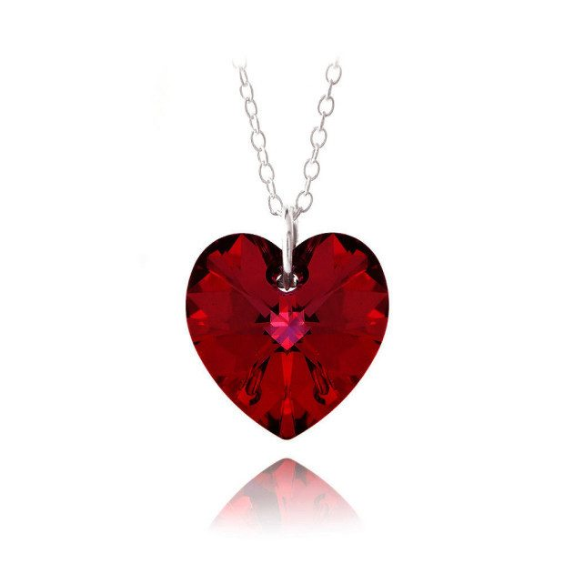 "Ruby Red Swarovski Elements Heart Necklace, 18"" Only $7.99 Plus FREE Shipping!"