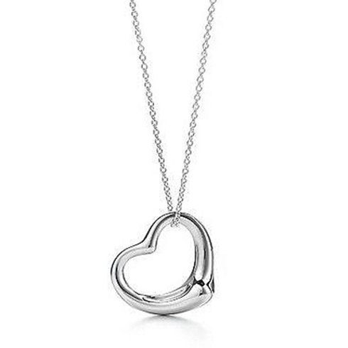 "18K White Gold Heart Pendant With 18"" Necklace Only $4.99 Shipped!"