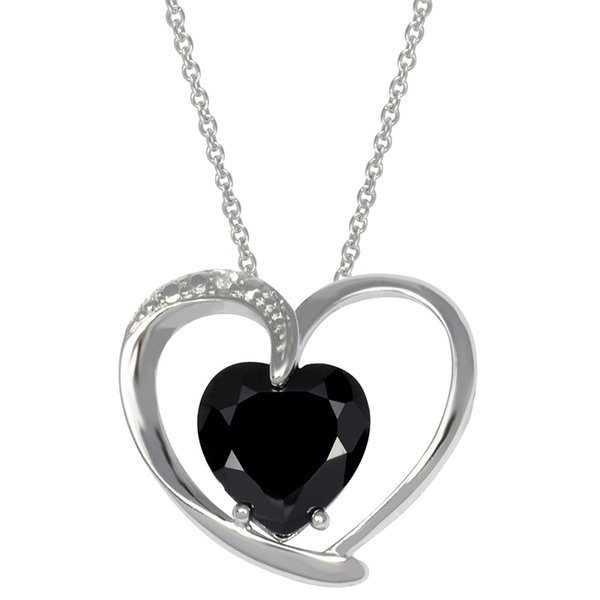 Sterling Silver Pendant with Imitation Black Diamond Heart Stone Just $9.00! Down From $89.99!