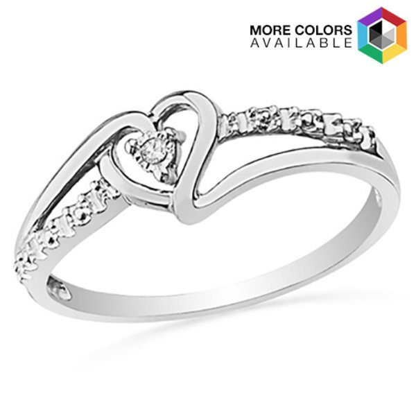 Sterling Silver Genuine Diamond Accent Heart Ring Just $6.99! Down From $89.99! Ships FREE!