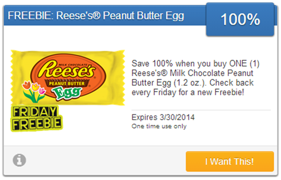 FREE Reese's Milk Chocolate Peanut Butter Egg!