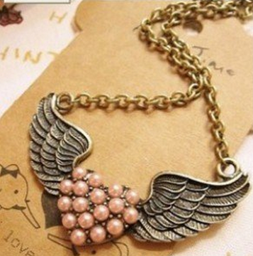 Retro Angel Winged Heart Necklace Just $2.59 SHIPPED!
